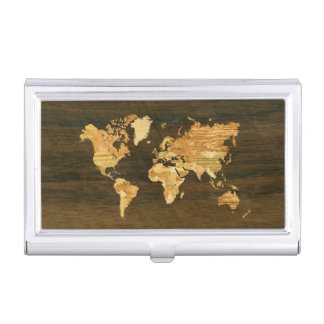 Wooden World Map Business Card Holder