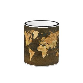 Wooden World Map Coffee Mug