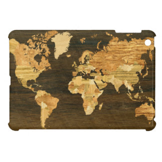 Wooden World Map Cover For The iPad Mini