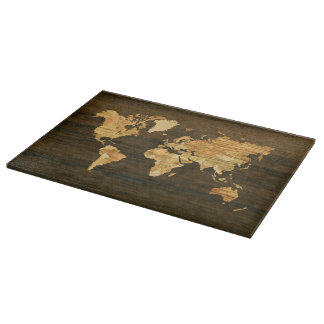 Wooden World Map Cutting Board