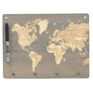 Wooden World Map Dry Erase Board With Key Ring Holder