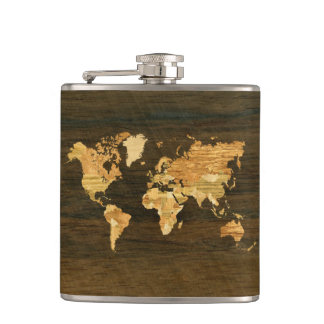 Wooden World Map Hip Flask