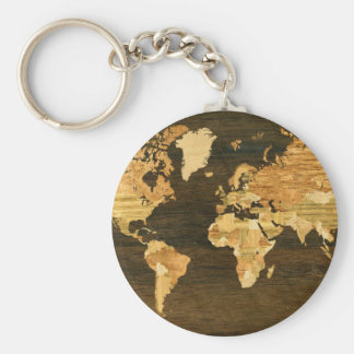 Wooden World Map Key Ring
