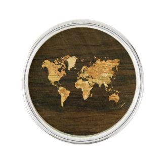 Wooden World Map Lapel Pin