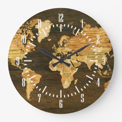 Artistic wooden world map round clock zazzle gumiabroncs Gallery