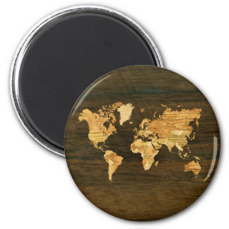 Wooden World Map Magnet