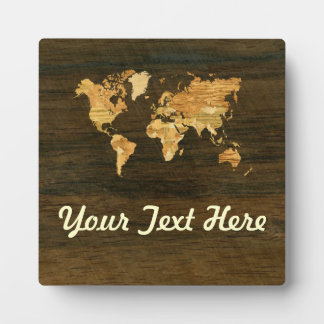 Wooden World Map Plaque