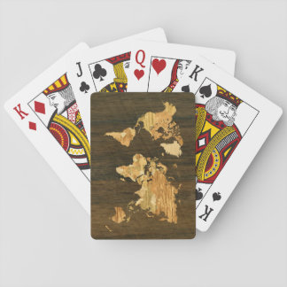 Wooden World Map Playing Cards