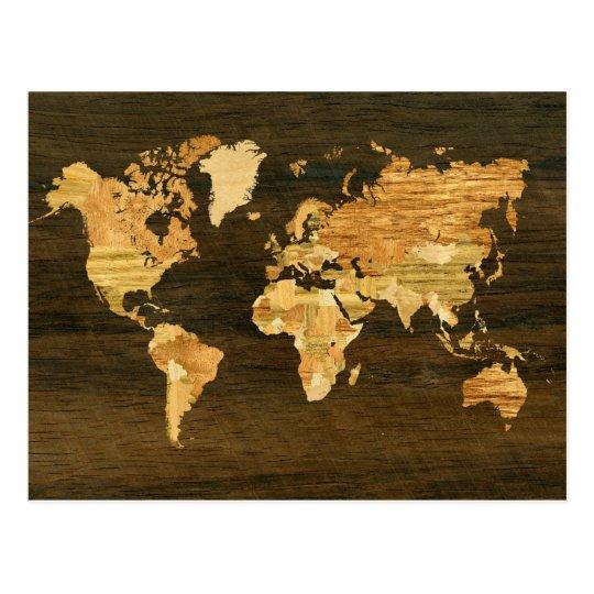 Wooden World Map Postcard