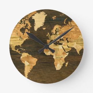 Wooden World Map Round Clock