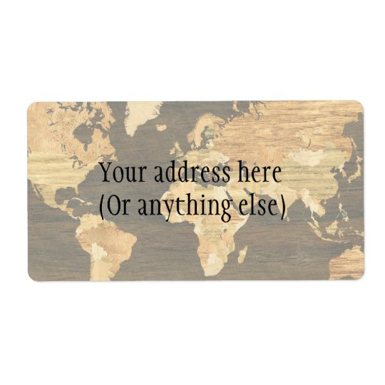 Wooden World Map Shipping Label