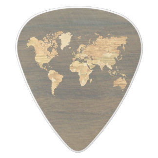 Wooden World Map White Delrin Guitar Pick