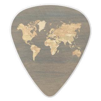 Wooden World Map White Delrin Guitar Pick
