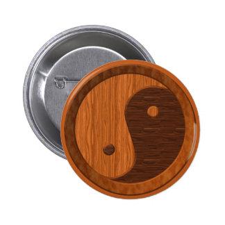Wooden Yin Yang 6 Cm Round Badge