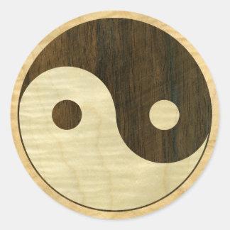 Wooden Yin Yang Symbol Round Sticker