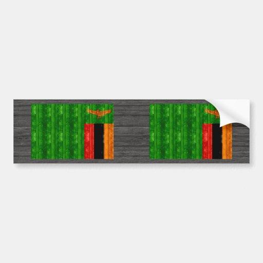 Wooden Zambian Flag Bumper Stickers