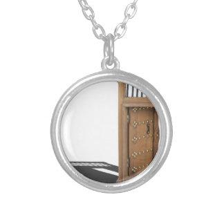 WoodenCastleOpenDoorBrass021613.png Round Pendant Necklace