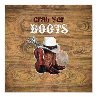 Woodgrain Rustic Country cowboyWedding 13 Cm X 13 Cm Square Invitation Card