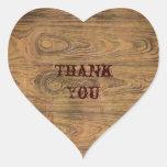 Woodgrain Rustic Country cowboyWedding Heart Stickers