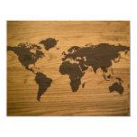 Woodgrain Textured World Map 11 Cm X 14 Cm Invitation Card