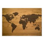 Woodgrain Textured World Map 9 Cm X 13 Cm Invitation Card