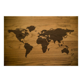 Woodgrain Textured World Map Posters