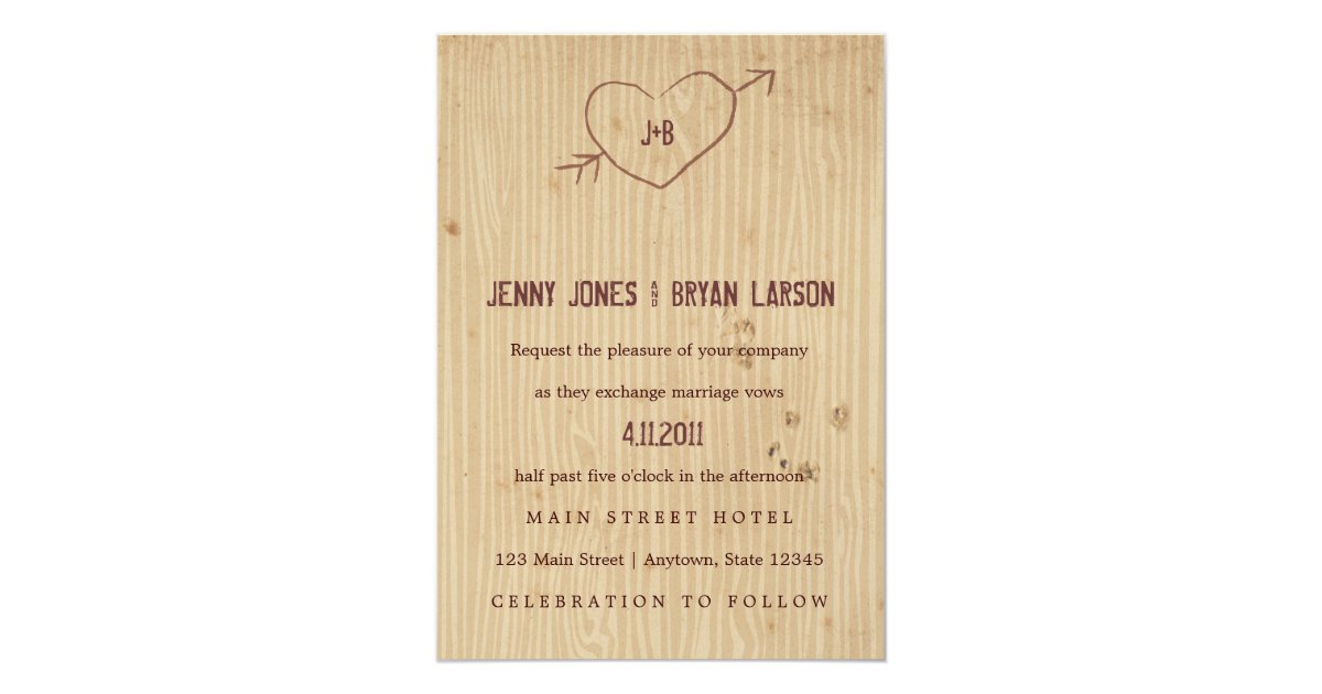 Heart Wedding Invitations Uk: Woodgrain With Heart Wedding Invitation