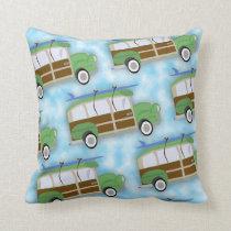 Woodie Surfin Wagon Pattern Cushion
