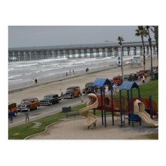 Woodies at the beach postcard