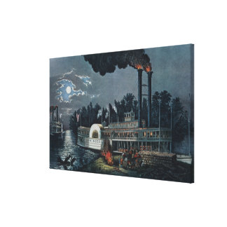 Wooding up' on the Mississippi Canvas Print