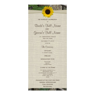 Woodland and Sunflower Wedding Program Rack Card