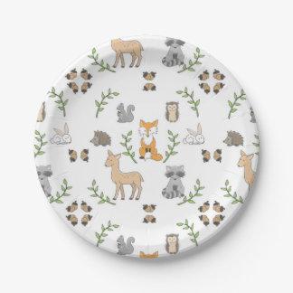 Woodland Animal acorn pattern Paper plates