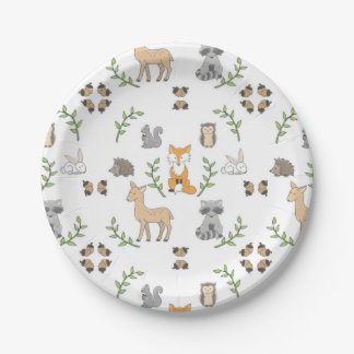 Woodland Animal acorn pattern Paper plates 7 Inch Paper Plate