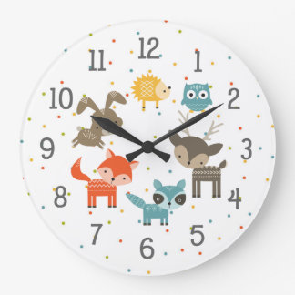 Woodland animal baby nursery clock, neutral gender large clock