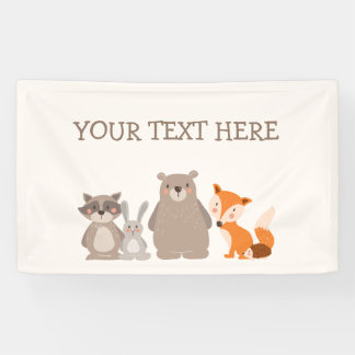 Woodland Animal Baby shower banner Forest Cute