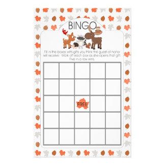 Woodland animal baby shower bingo and purse games 14 cm x 21.5 cm flyer