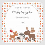 Woodland Animal Baby Shower Bookplates Square Sticker