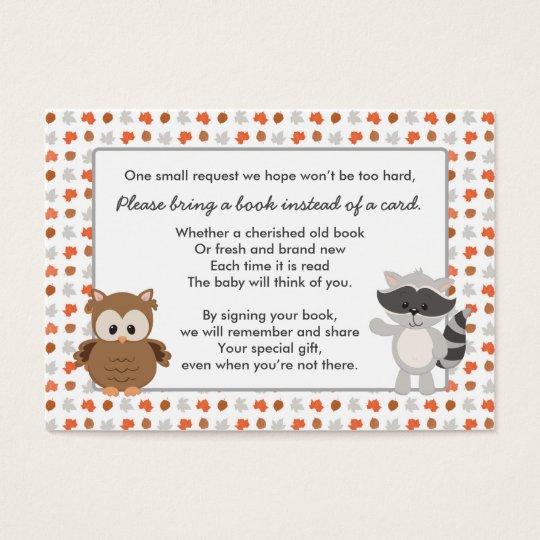 Woodland Animal Book Request / baby shower insert