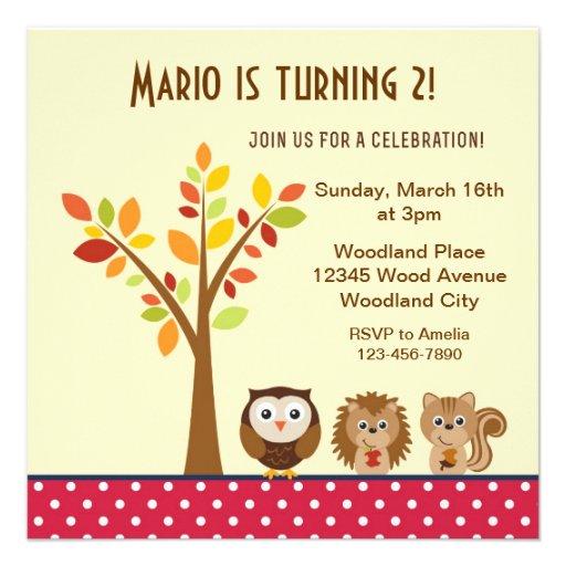 Woodland Animal Children Birthday Party Invite Personalized Invitation