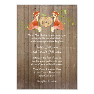 Woodland Animal Creatures, Fox n Vines Weddings Card