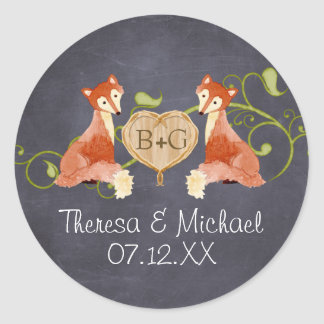 Woodland Animal Creatures, Fox n Vines Weddings Round Sticker