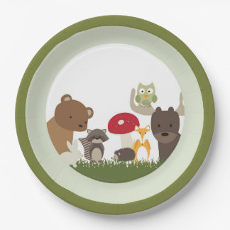 Woodland Animal Paper Plates 9 Inch Paper Plate