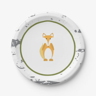 Woodland Animal Paper Plates- Fox Paper Plates 7 Inch Paper Plate