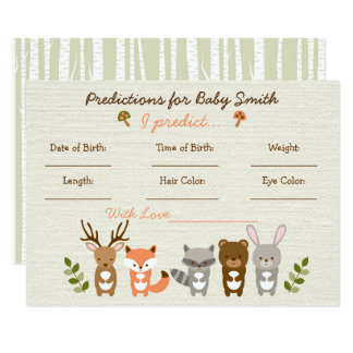 Woodland Animal Predictions For Baby Game Card