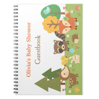 Woodland Animal Themed Baby Shower Guestbook Notebooks
