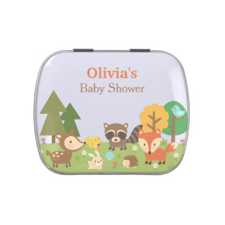 Woodland Animal Themed Baby Shower Party Treats Jelly Belly Candy Tins