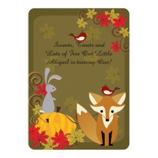 Woodland Animals Autumn 1st Birthday Invitation