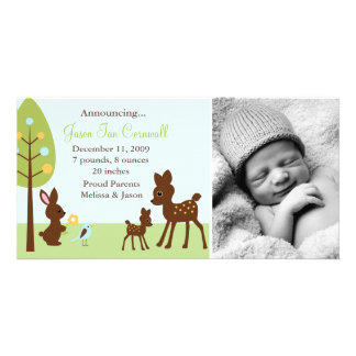Woodland Animals Baby Birth Announcements Photo Greeting Card