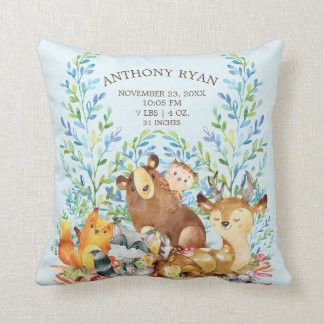 Woodland Animals Baby Birth Stats Pillow