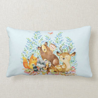 Woodland Animals Baby Boy Nursery Pillow